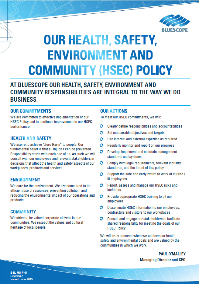 Hse Health And Safety Policy Template Sustainability BlueScope Corporate